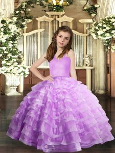Lavender Organza Lace Up Straps Sleeveless Floor Length Pageant Gowns For Girls Ruffled Layers