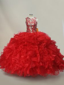 Ideal Red Ball Gowns Scoop Sleeveless Organza Floor Length Lace Up Ruffles and Sequins Quinceanera Gowns
