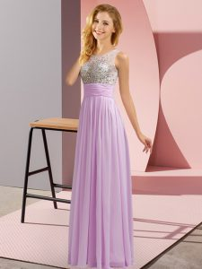 Lavender Dama Dress for Quinceanera Wedding Party with Beading Scoop Sleeveless Side Zipper