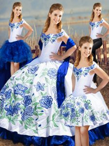 Floor Length Blue And White Sweet 16 Dress Off The Shoulder Sleeveless Lace Up