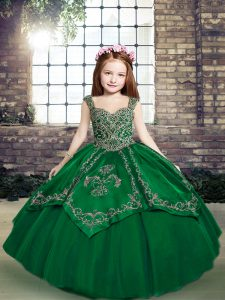 Dark Green Little Girls Pageant Dress Party and Military Ball and Wedding Party with Beading and Embroidery Straps Sleeveless Lace Up