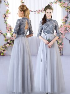 Grey Dama Dress Wedding Party with Appliques High-neck Half Sleeves Lace Up