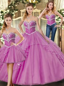 Sumptuous Floor Length Lilac Ball Gown Prom Dress Tulle Sleeveless Beading