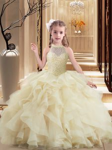 Cheap Ball Gowns Sleeveless Light Yellow Girls Pageant Dresses Brush Train Lace Up
