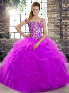 Unique Purple Off The Shoulder Neckline Beading and Ruffles Sweet 16 Quinceanera Dress Sleeveless Lace Up