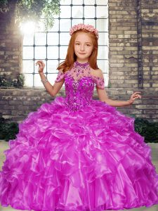 Fantastic High-neck Sleeveless Organza Pageant Dress Beading and Ruffles Lace Up