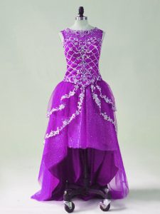 Purple Tulle Zipper Prom Dresses Sleeveless High Low Beading and Appliques