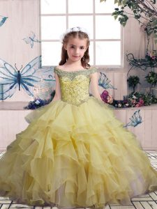 Off The Shoulder Sleeveless Lace Up Girls Pageant Dresses Yellow Organza