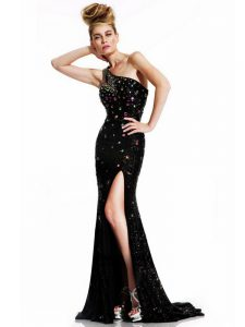 Black Sleeveless Brush Train Backless Dress for Prom for Prom and Party and Military Ball