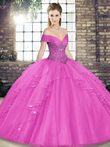 Stylish Lilac Off The Shoulder Neckline Beading and Ruffles Quince Ball Gowns Sleeveless Lace Up