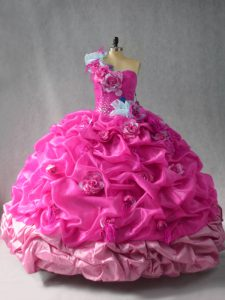 Extravagant Fuchsia Organza Lace Up Vestidos de Quinceanera Sleeveless Floor Length Pick Ups and Hand Made Flower