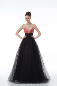 Black Sleeveless Floor Length Beading Zipper