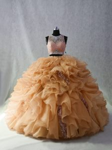 Admirable Scoop Sleeveless Organza Quinceanera Dress Beading and Ruffles and Sequins Brush Train Zipper