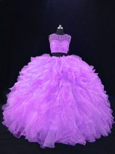 Lavender Zipper Scoop Beading and Ruffles Quinceanera Gowns Organza Sleeveless