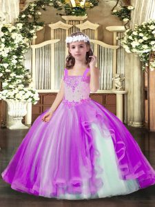 Glorious Sleeveless Tulle Floor Length Lace Up Pageant Gowns For Girls in Lilac with Beading
