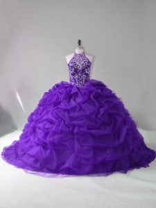 Custom Fit Purple Party Dress Organza Court Train Sleeveless Beading and Pick Ups