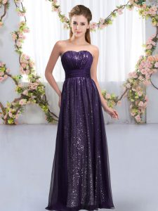 Dark Purple Chiffon and Sequined Lace Up Quinceanera Court of Honor Dress Sleeveless Floor Length Sequins