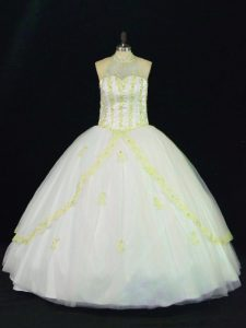 Super Yellow And White Halter Top Lace Up Appliques Sweet 16 Dress Sleeveless
