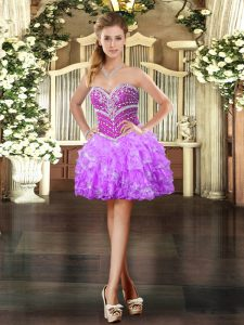 Lilac Ball Gowns Beading and Ruffled Layers Prom Dress Lace Up Organza Sleeveless Mini Length