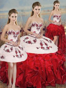 Popular White And Red 15 Quinceanera Dress Military Ball and Sweet 16 and Quinceanera with Embroidery and Ruffles and Bowknot Sweetheart Sleeveless Lace Up