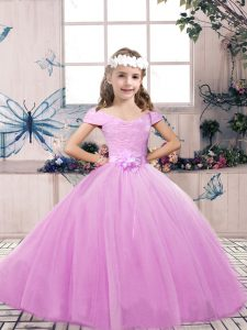 Lovely Lilac Sleeveless Floor Length Lace and Belt Lace Up Evening Gowns