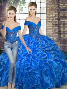 Gorgeous Royal Blue Two Pieces Off The Shoulder Sleeveless Organza Floor Length Lace Up Beading and Ruffles Sweet 16 Dress