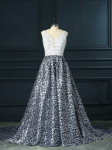 Sleeveless Printed Brush Train Backless Homecoming Dress in White And Black with Beading