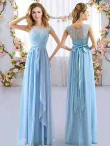 Popular Light Blue Cap Sleeves Floor Length Lace and Belt Side Zipper Quinceanera Dama Dress