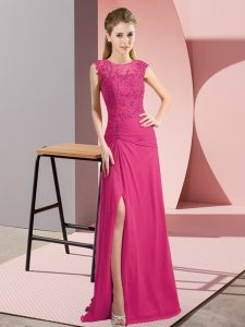Gorgeous Sleeveless Chiffon Floor Length Zipper Prom Gown in Hot Pink with Beading