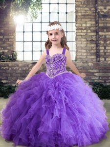 Perfect Lavender and Purple Ball Gowns Straps Sleeveless Tulle Floor Length Lace Up Beading and Ruffles Pageant Gowns For Girls