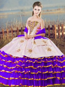 Discount White And Purple Ball Gowns Organza Sweetheart Sleeveless Beading and Ruffled Layers Floor Length Lace Up Sweet 16 Dresses