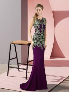 Dark Purple Prom Party Dress Satin Sweep Train Sleeveless Appliques