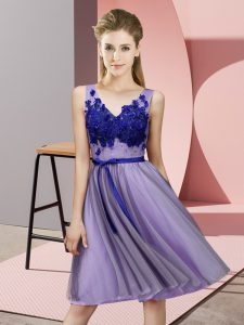 Knee Length Lace Up Dama Dress for Quinceanera Lavender for Wedding Party with Appliques