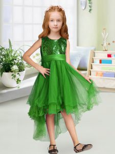 Unique Green Sleeveless Sequins and Bowknot High Low High School Pageant Dress