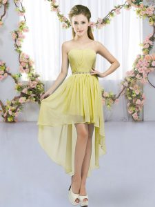 Custom Design Sweetheart Sleeveless Lace Up Court Dresses for Sweet 16 Yellow Chiffon