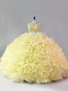 Yellow Sleeveless Fabric With Rolling Flowers Zipper Quinceanera Dresses for Quinceanera