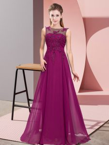 Suitable Scoop Sleeveless Zipper Quinceanera Court Dresses Purple Chiffon
