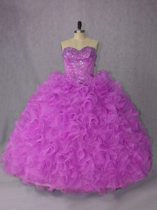 Noble Lilac Sweetheart Neckline Beading Quinceanera Dress Sleeveless Lace Up