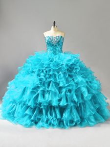 Customized Aqua Blue Sweet 16 Quinceanera Dress Sweet 16 and Quinceanera with Ruffles and Sequins Sweetheart Sleeveless Lace Up