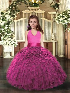 Fancy Hot Pink Ball Gowns Halter Top Sleeveless Organza Floor Length Lace Up Ruffles Child Pageant Dress