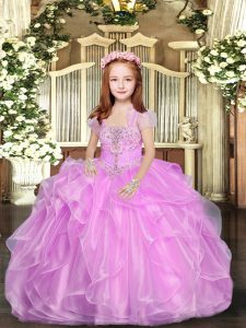 Sleeveless Lace Up Floor Length Beading and Ruffles Pageant Dress for Girls