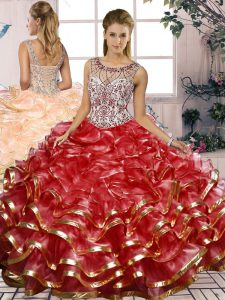 Fabulous Red Lace Up Sweet 16 Quinceanera Dress Beading and Ruffles Sleeveless Floor Length