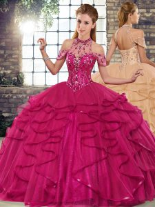 Graceful Fuchsia Lace Up Quinceanera Dresses Beading and Ruffles Sleeveless Floor Length