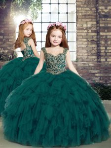 Custom Made Ball Gowns Girls Pageant Dresses Teal Straps Tulle Sleeveless Floor Length Lace Up