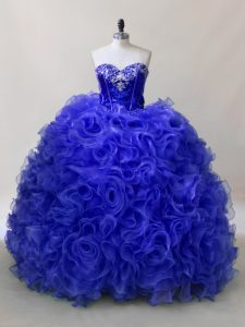Designer Ruffles and Sequins 15th Birthday Dress Royal Blue Lace Up Sleeveless Floor Length
