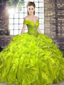 Olive Green Sleeveless Organza Lace Up Quinceanera Dresses for Military Ball and Sweet 16 and Quinceanera