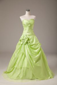 Yellow Green Organza Lace Up Vestidos de Quinceanera Sleeveless Floor Length Beading and Hand Made Flower