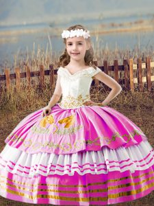 Custom Design Lilac Lace Up Off The Shoulder Embroidery Kids Formal Wear Satin Sleeveless
