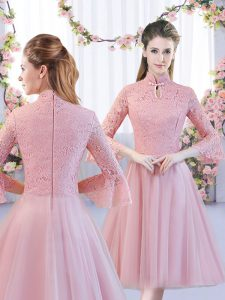 Admirable Pink 3 4 Length Sleeve Tulle Zipper Court Dresses for Sweet 16 for Wedding Party