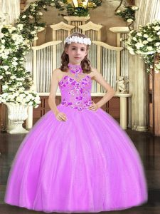Inexpensive Lilac Ball Gowns Appliques Child Pageant Dress Lace Up Tulle Sleeveless Floor Length